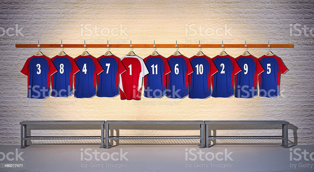 Row of Football Team Shirts stock photo