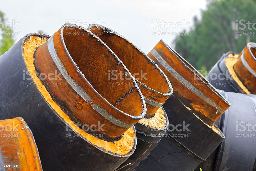 Row of gas pipes stock photo