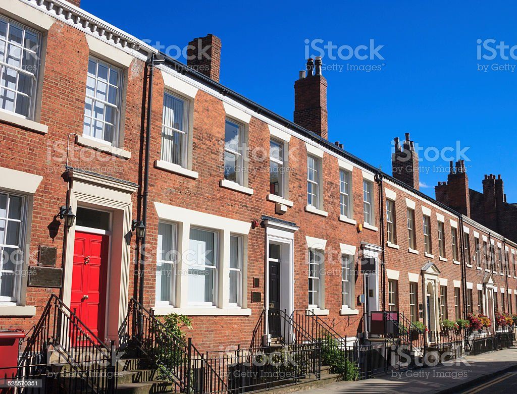 Row of Georgian terrace houses in the UK stock photo