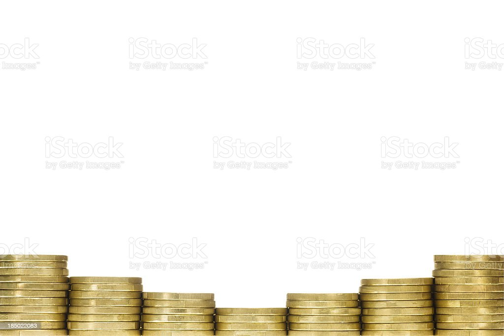 Row of Gold Coins Forming Bottom Frame Border stock photo