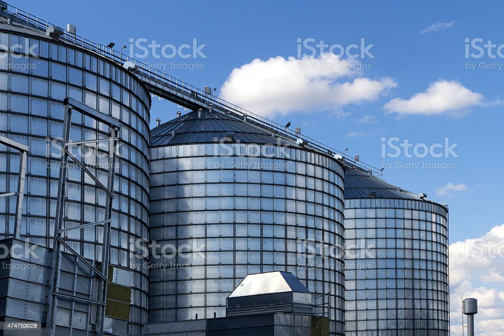 Row of granaries for storing wheat stock photo