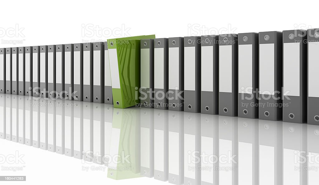 A row of gray folders with a lone green folder sticking out stock photo