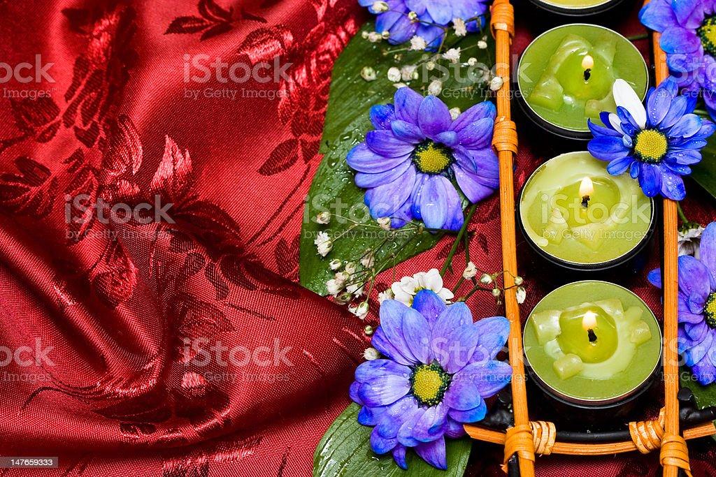Linha Verde velas e flores azul foto de stock royalty-free