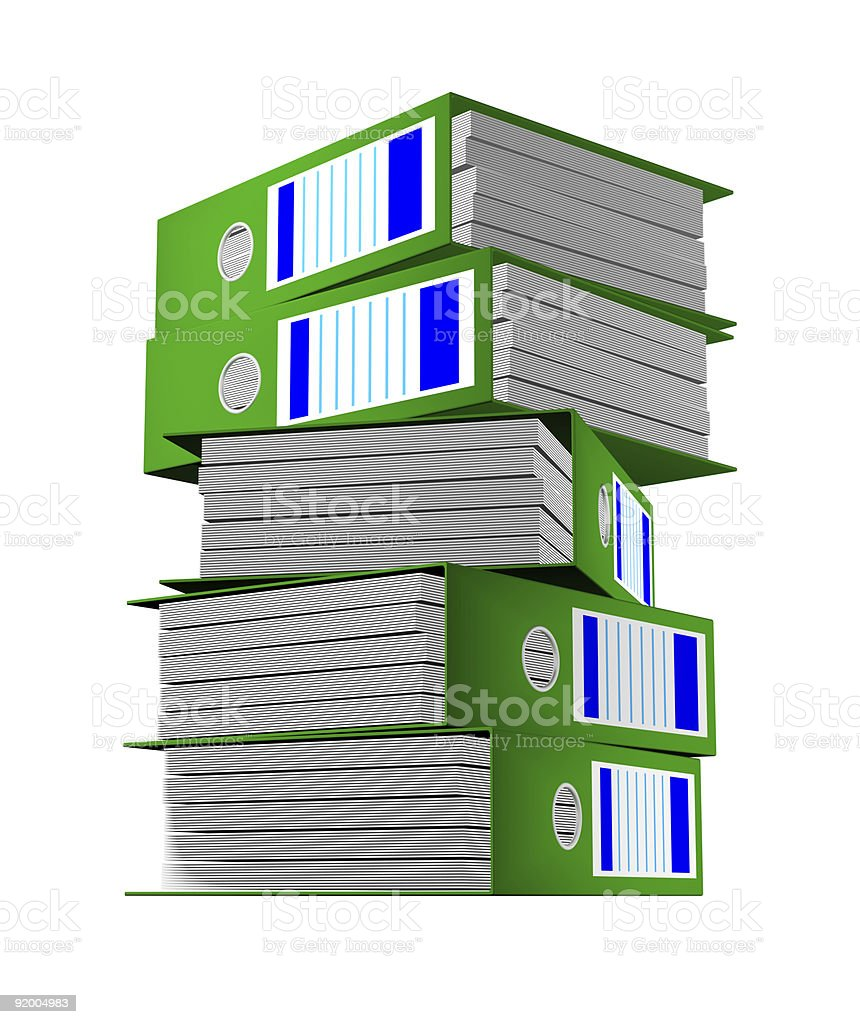 Row of green folders with documents on a white background stock photo