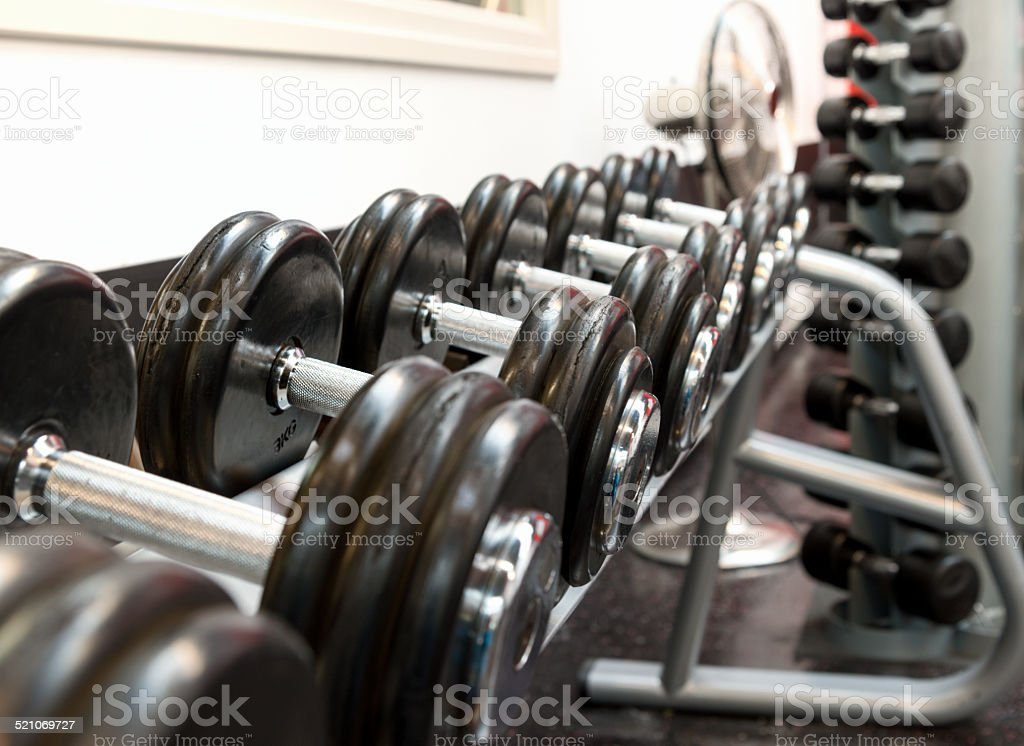 row of Gym weights stock photo