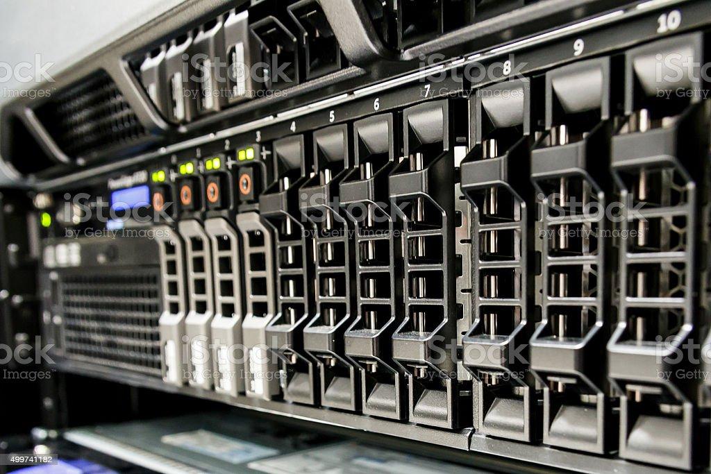 Row of harddisk slot on the server. stock photo