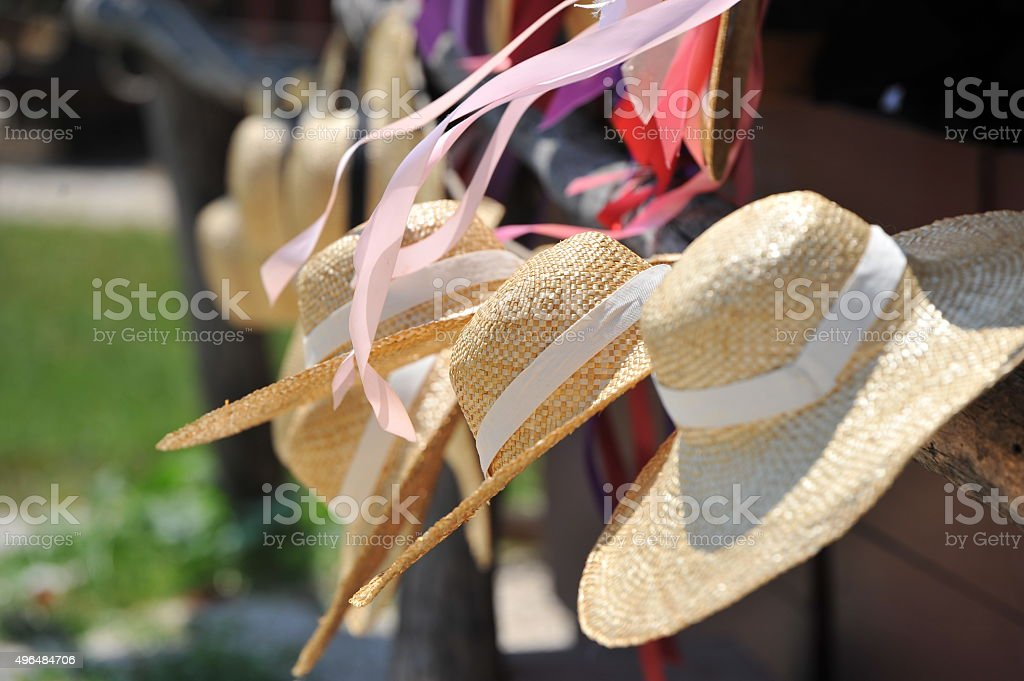 Row of hats stock photo