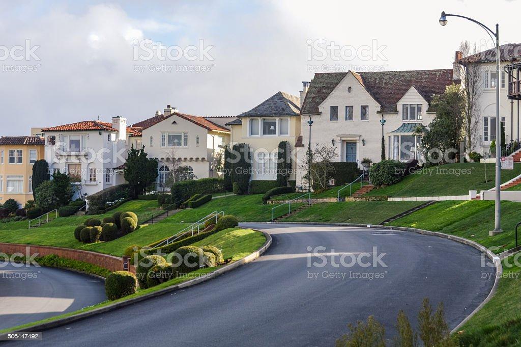 Row of homes in suburban USA neighborhood stock photo
