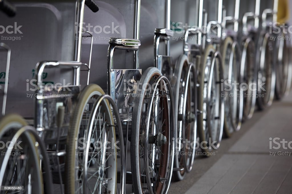 row of hospital wheelchair stock photo