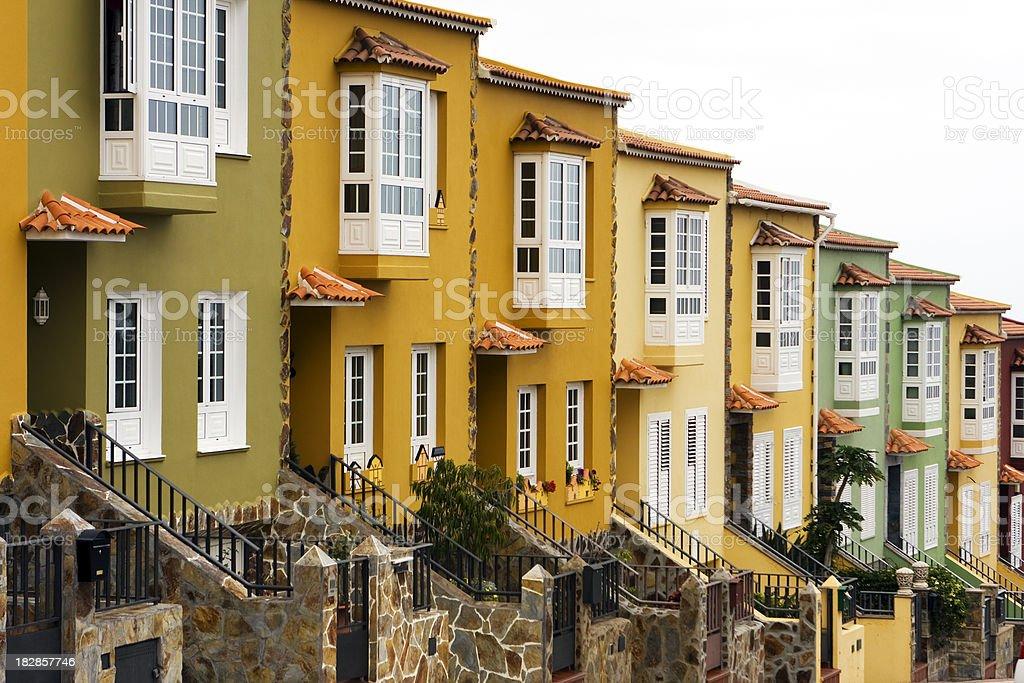 Row of houses, holiday villas stock photo