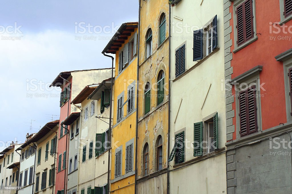 Row of houses in different colors, Florence royalty-free stock photo
