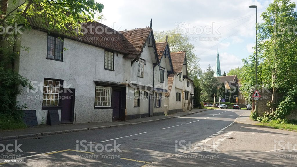 Row of houses in village town - English Countryside stock photo