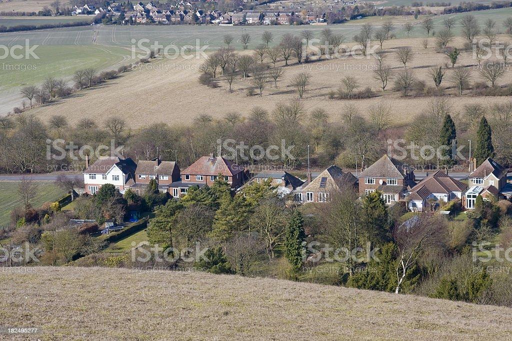Row of houses stock photo