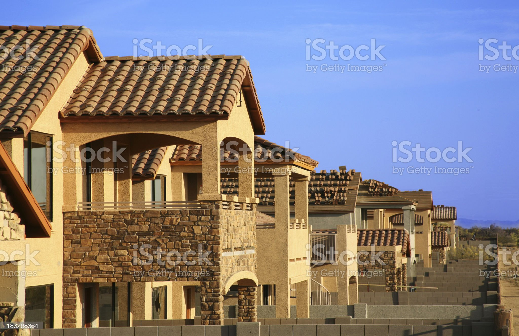 Row of houses under construction royalty-free stock photo