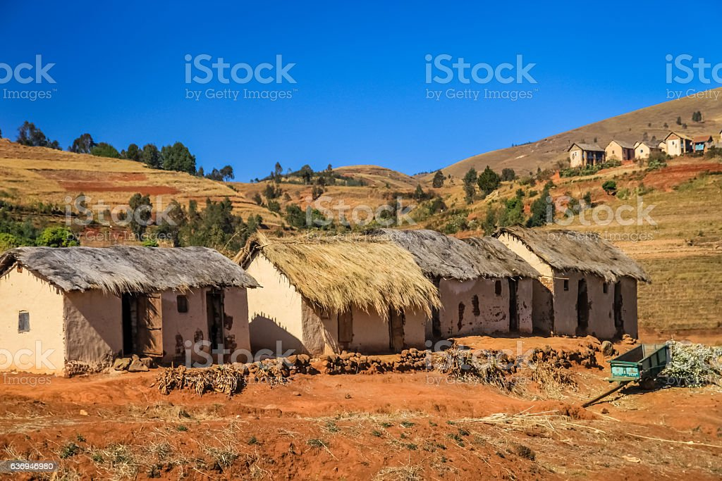 Row of huts stock photo