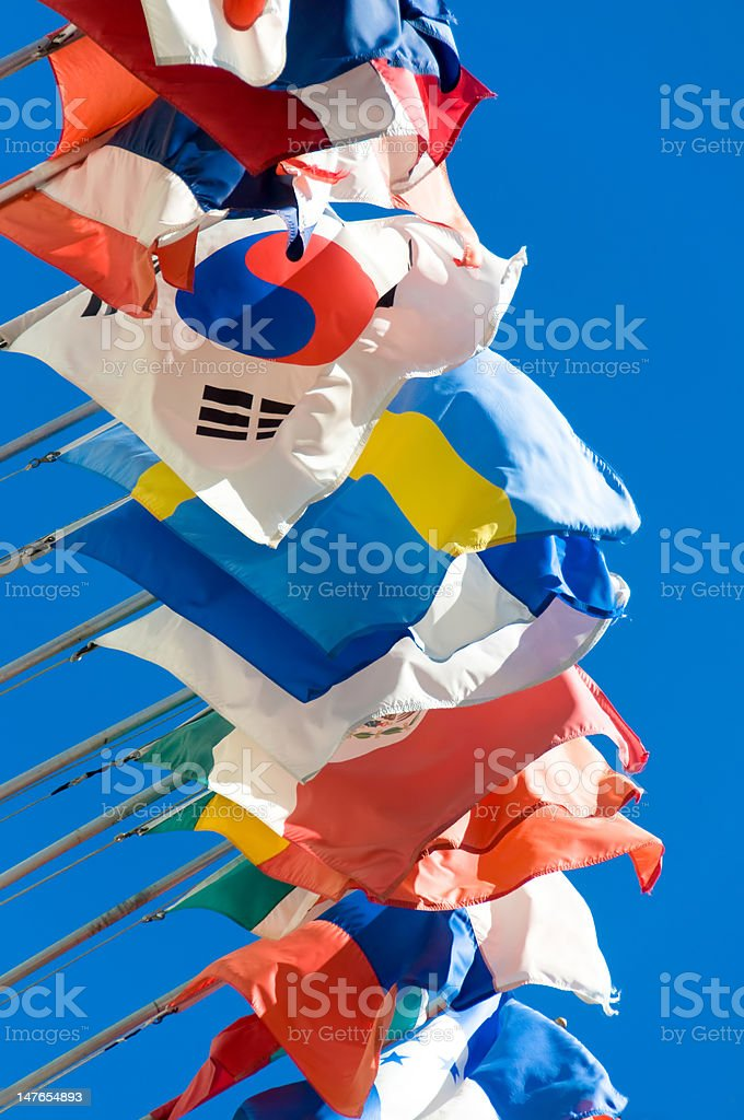 Row of international flags stock photo