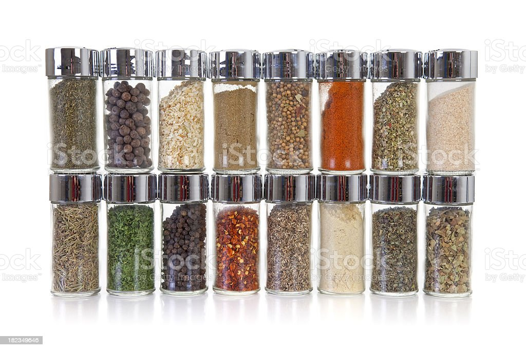 Row of jars with spices stock photo