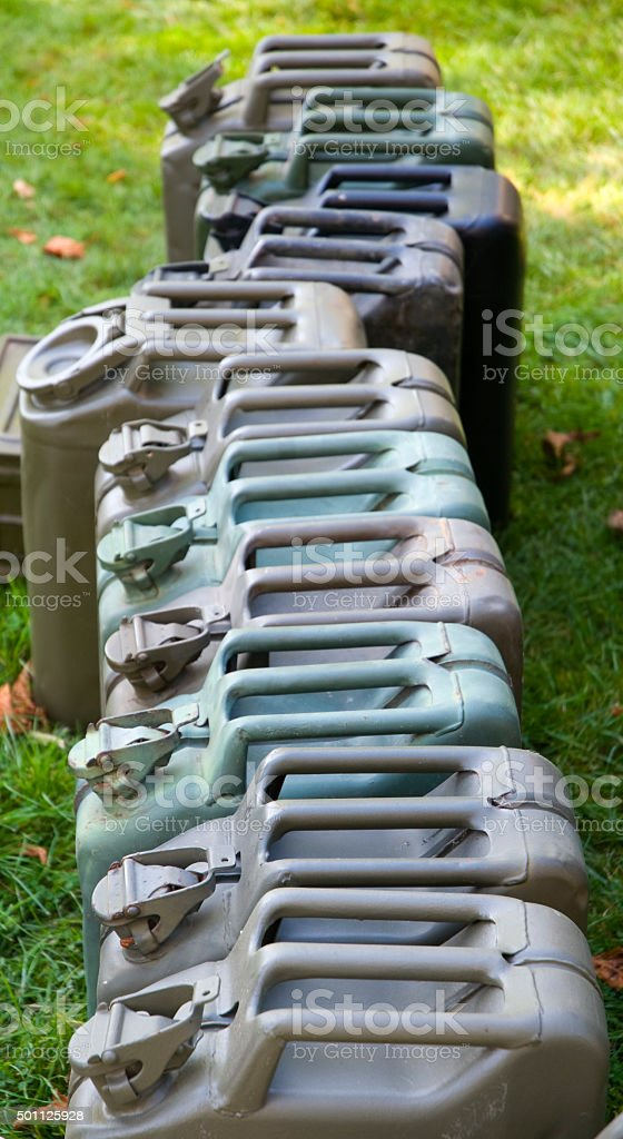 Row of Jerry Cans stock photo