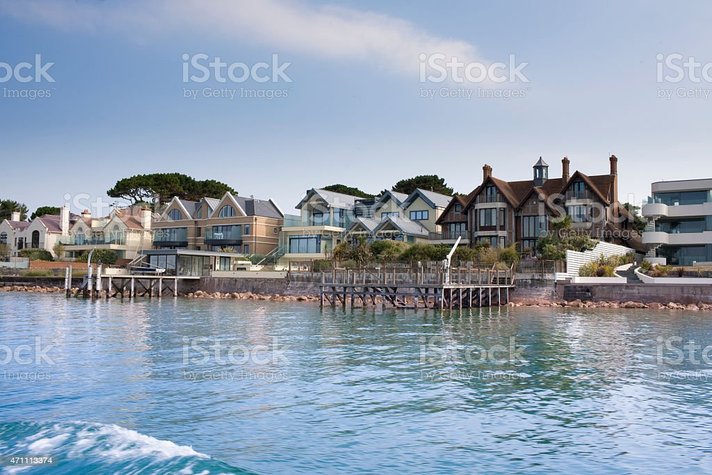 Row of large houses in the Sandbanks area of Poole stock photo
