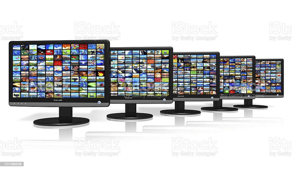 Row of LCD displays with picture galleries royalty-free stock photo