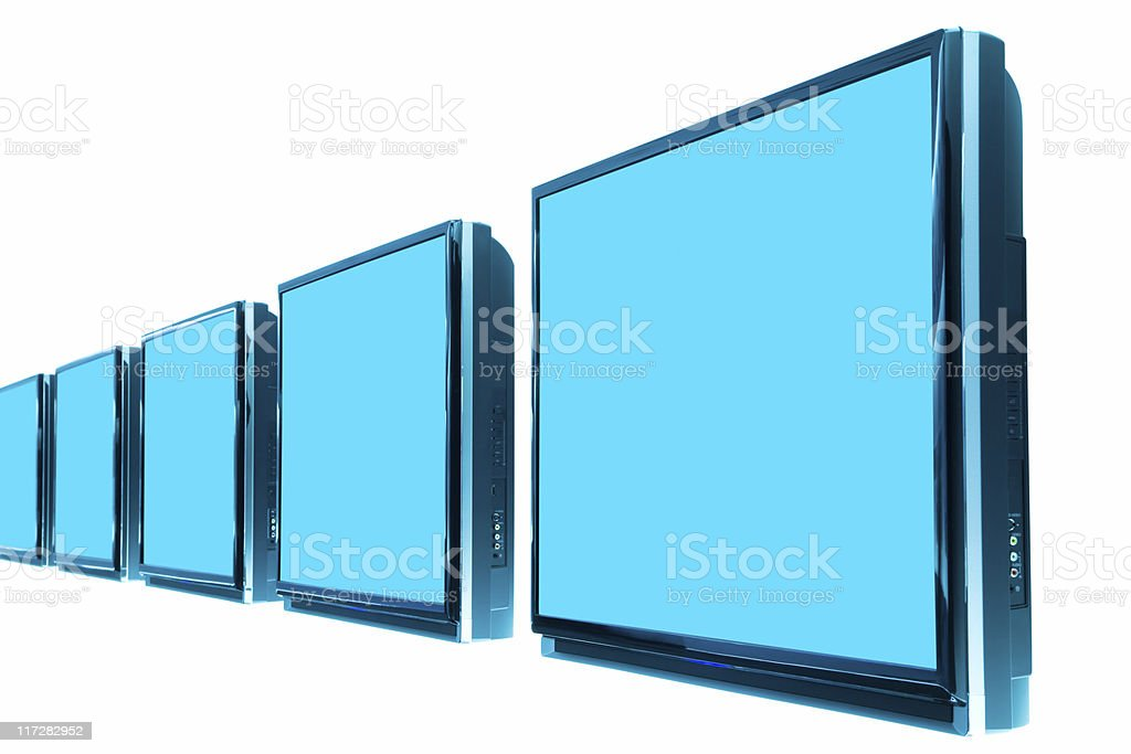 Row of LCD TVs isolated on white royalty-free stock photo