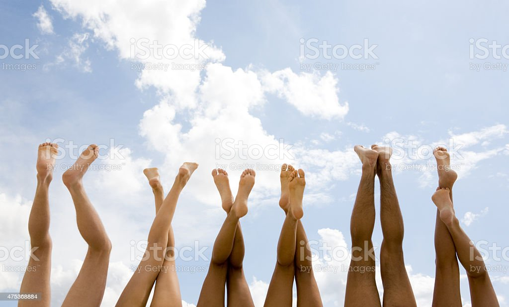 Row of legs stock photo