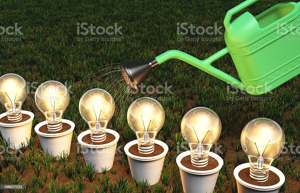 Row of light bulbs in pots is watered vector art illustration