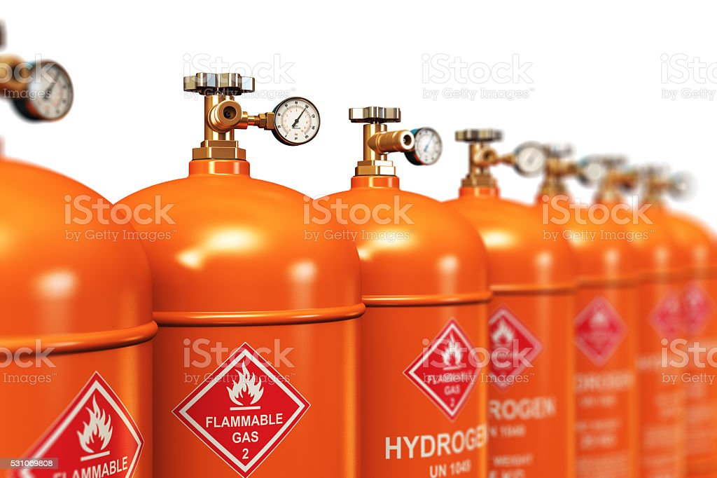 Row of liquefied hydrogen industrial gas containers stock photo