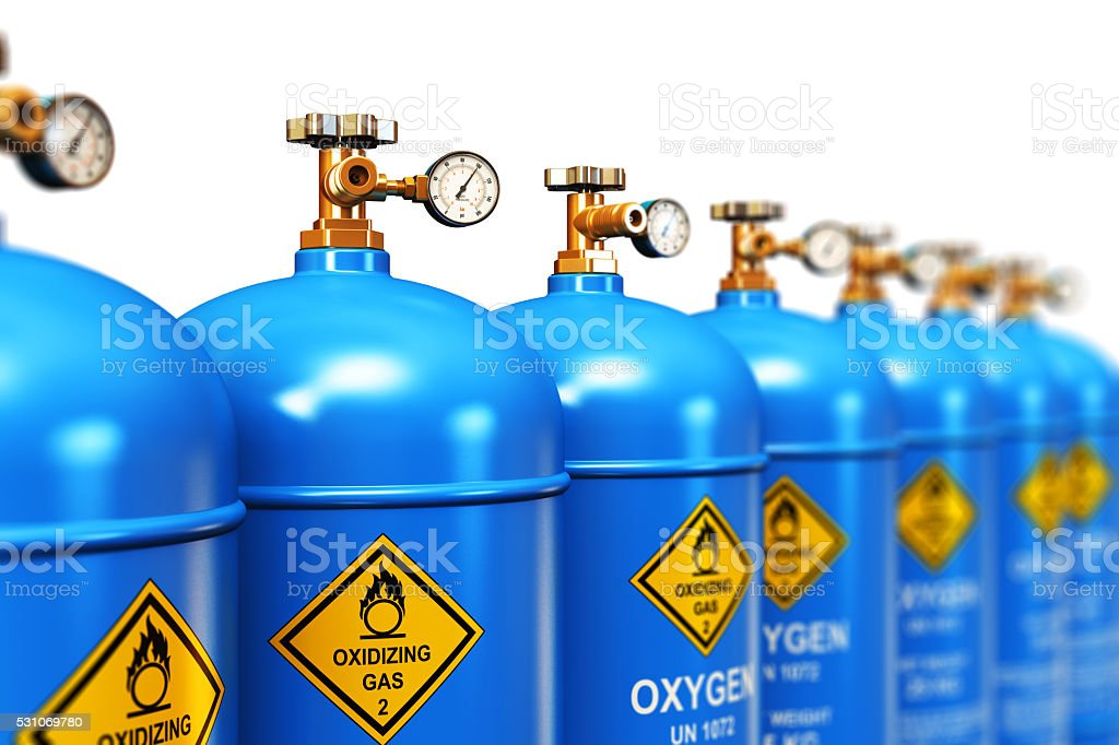 Row of liquefied oxygen industrial gas containers stock photo