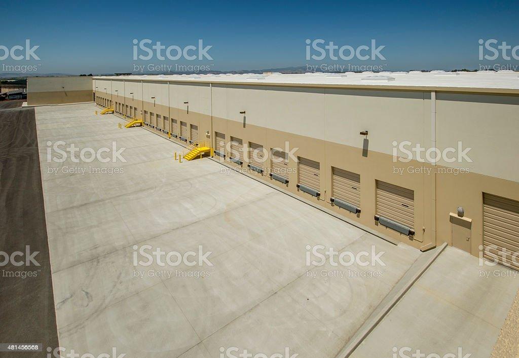 Row of Loading Docks at a Large Warehouse stock photo