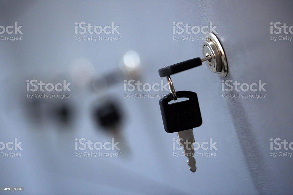Row of locker box - stainless steel panel key lock stock photo