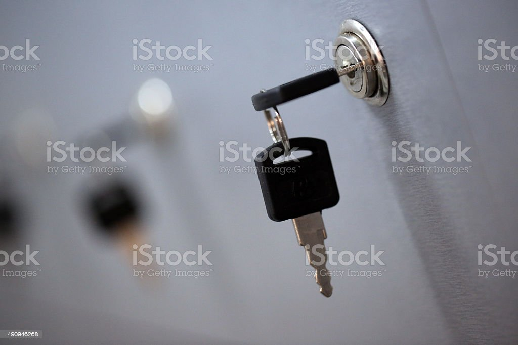 Row of locker box - stainless steel panel key lock stock photo