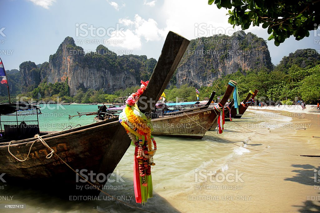 Row of longtail boats in Thailand stock photo
