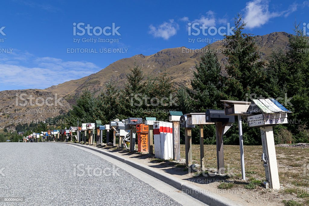 Row of mailboxes in New Zealand stock photo