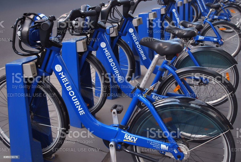 Row of Melbourne share bikes stock photo