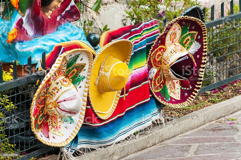 Row of Mexican Sombreros stock photo