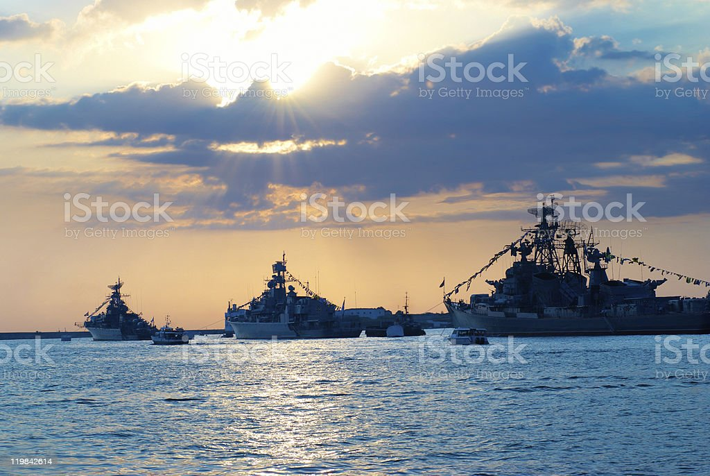 Row of military ships royalty-free stock photo