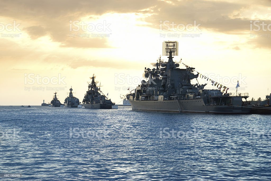Row of military ships stock photo