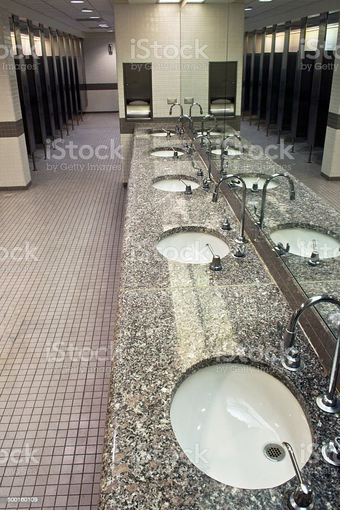 Row Of Mirrored Sinks stock photo