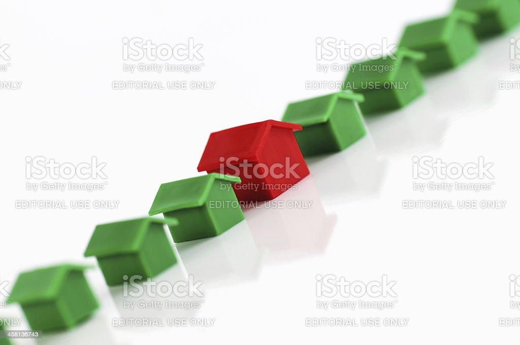 Row of model houses stock photo