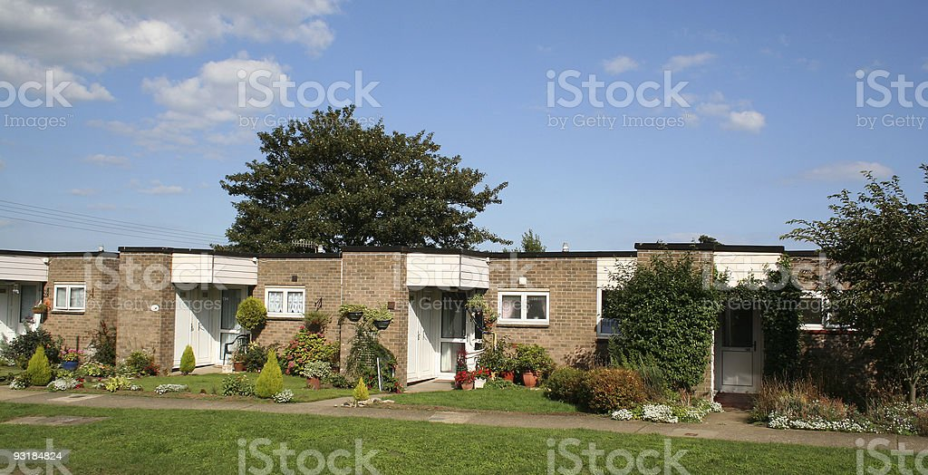 Row of modern bungalows royalty-free stock photo