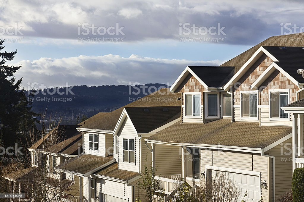 Row of Modern Homes stock photo