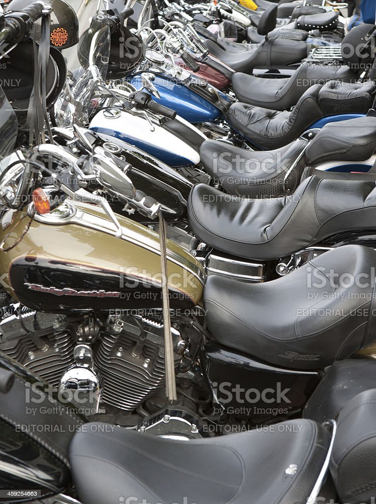 Row of Motorcycles at Oyster Run 9-23-12 stock photo