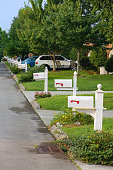 A row of neighborhood mailboxes