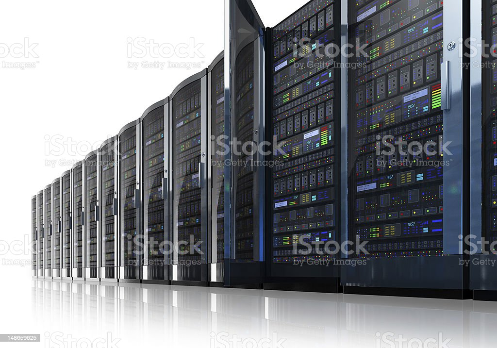 Row of network servers in data center stock photo
