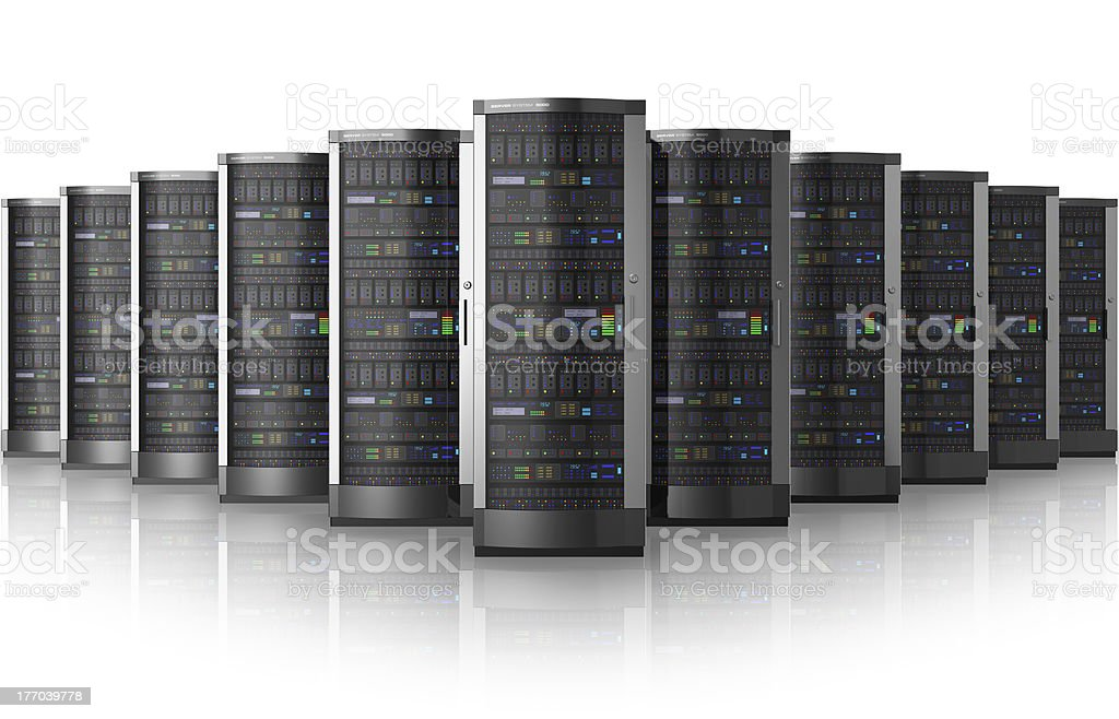 Row of network servers in data center royalty-free stock photo