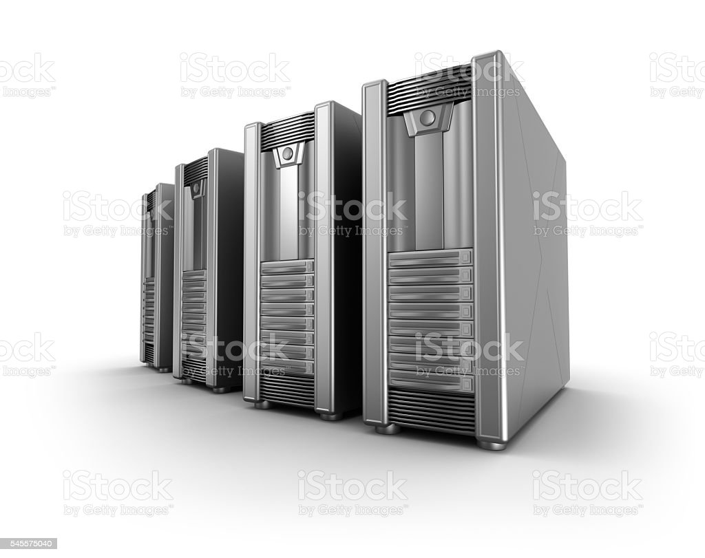 Row of network servers over white stock photo