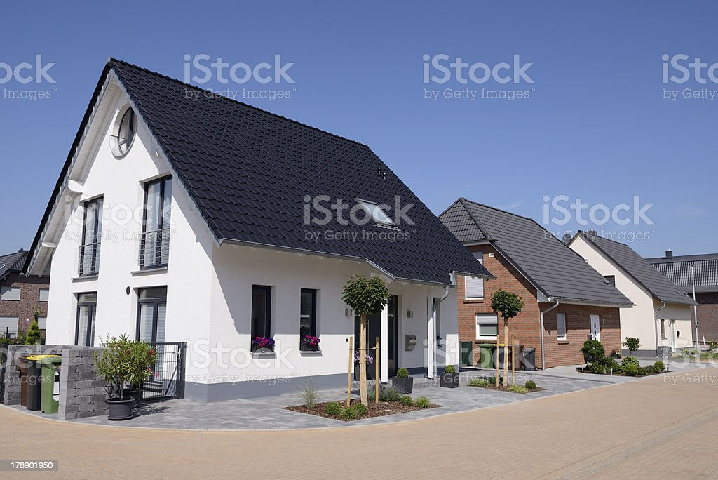 Row of new basic one-family houses stock photo