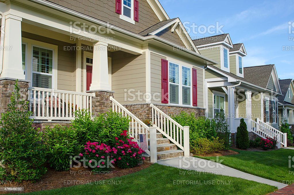 Row of New, Bungalow-Style Homes stock photo