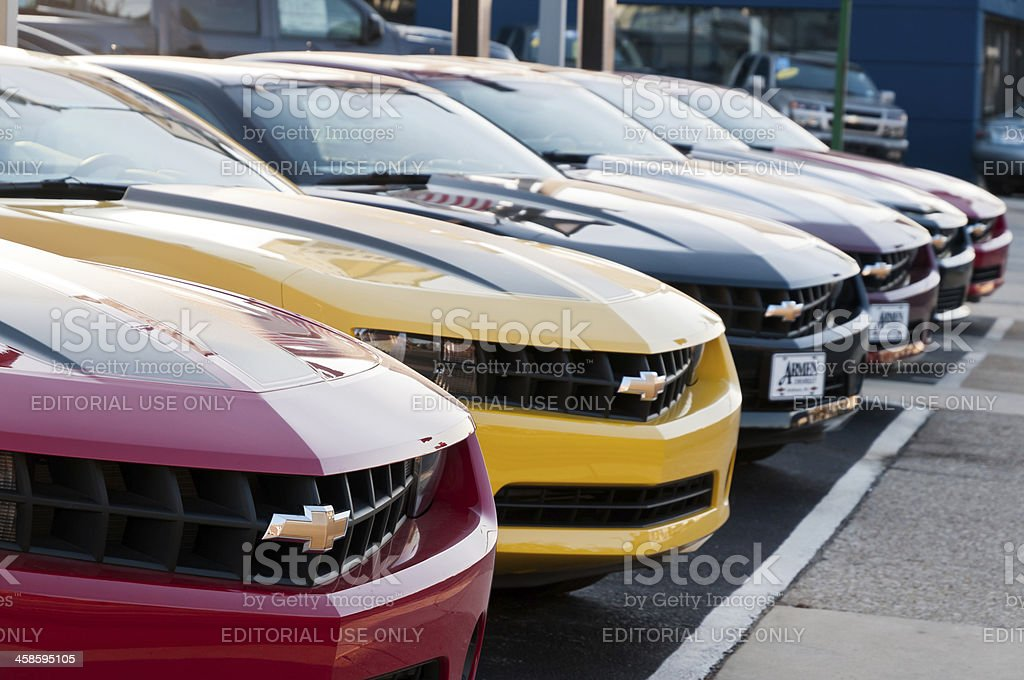 Row of new Chevrolet Camaro cars on display stock photo